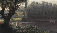 landschaft mit fluß, im vordergrund ein angler und sitzende paare by ewald honnef