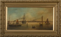 sail and steam ships in portsmouth harbor by brian coole