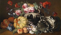 ein blumen- und obststillleben mit zwei barocken prunkvasen by abraham brueghel