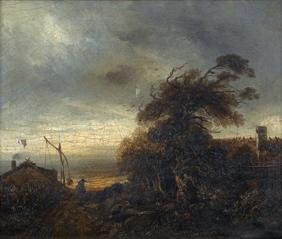 stürmische landschaft mit häusern und bäuerin by georges michel