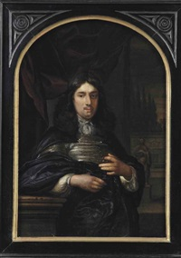 portrait of a gentleman leaning on a ballustrade, three-quarter-length, in a dark blue coat, before a red curtain, a garden with statues beyond by eglon hendrik van der neer