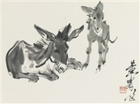 two donkeys by huang zhou