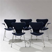 seven chair armchairs (model 3207) (set of 5) by arne jacobsen