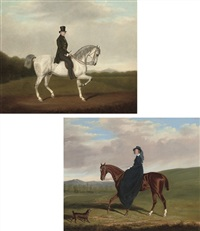 portrait of a gentleman in a green coat (+ portrait of a lady in a blue dress; pair) by james (of bath) loder