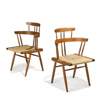 custom grass seated chairs (pair) by mira nakashima-yarnall