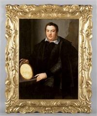 ritratto di gentiluomo con veste nera e cornice ovale nella mano destra by alessandro di cristofano allori