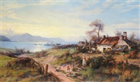 mother and children on a country lane, fishing boats on the conway estuary in the distance by william gilbert foster