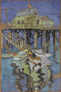 view of new england pier by janet laura scott