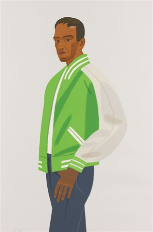 green jacket from alex and ada the 1960s to the 1980s series by alex katz