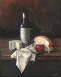 a bottle of wine, cheese and bread with a jar of cherries to the side by paul karslake