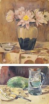 瓶花、瓜果 (vase and flower/still life) (2 works) by shao liangyun and li yongsen