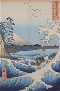8 works from thirty-six views of mt. fuji by ando hiroshige