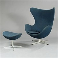 the egg chair easy chair with matching stool by arne jacobsen