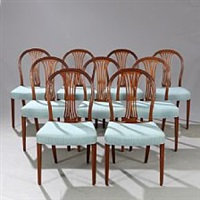 set of nine dining chairs of mahogany by frits henningsen