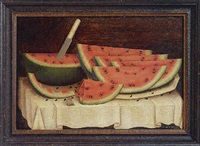 watermelon wedges on a white cloth by daniel mcdowell