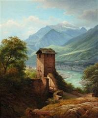 flusslandschaft mit brückenturm im gebirge by georg heinrich crola