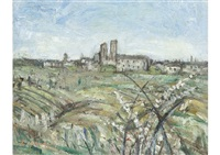 chartres distant view by pierre laprade