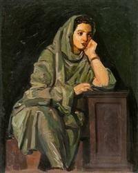 figura velata in grigio by achille funi