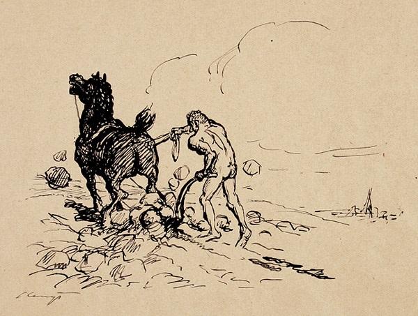 rübezahl pflügt den boden vorzeichnung zur ersten legende des märchen von rübezahl von j a musäus by max slevogt