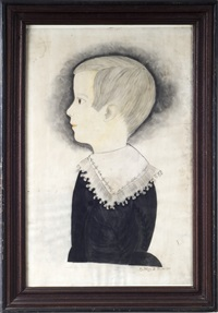 profile portrait of a young boy wearing a lace collar by mary b. tucker