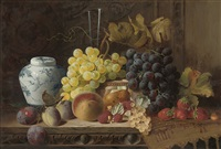a ginger jar with plums, a peach, pear, raspberries, and white currants by charles e. baskett