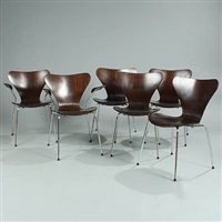 seven chair (model 3107 and 3207) (set of 6) by arne jacobsen