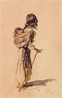 mädchen mit kleinkind am rücken by johann gualbert raffalt