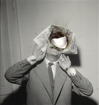 selfportrait of you + me (louis de funès), photo verkohlt by douglas gordon