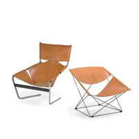 lounge chair (no. 444) and butterfly chair (no. 675) by pierre paulin