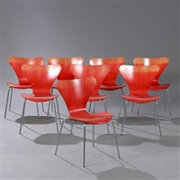 seven chair (model 3107) (set of 8) by arne jacobsen