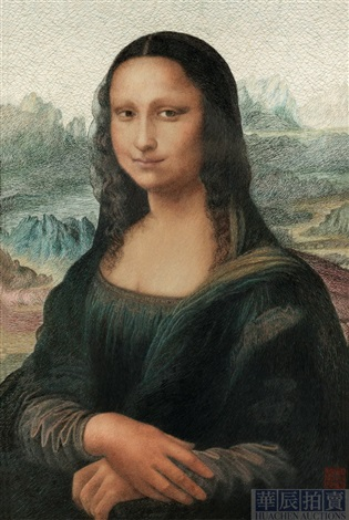 mona lisa embroidered by mei guiying by leonardo da vinci