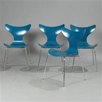 the seagull chairs (model 3108) (set of 4) by arne jacobsen