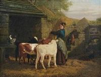 bauersfrau mit drei kälbchen by henry hetherington emmerson