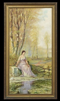 wooded landscape with nymph by john antrobus
