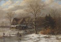 holländische winterlandschaft mit eisläufern by alois bach