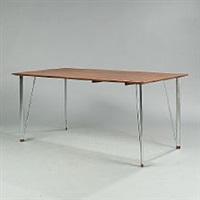 a rectangular table with chromed steel legs by arne jacobsen