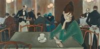 cafészene mit junger dame by simon simon-auguste