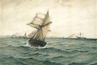 marine: einfahrende dampfer und segler vor einer französischen hafenstadt by gustaf albert