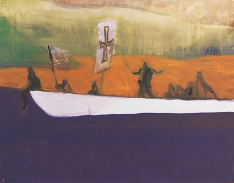 ohne titel (canoe) by peter doig