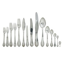 flatware set in the lily-of-the-valley (rose) pattern (set of 12) by georg jensen (co.)