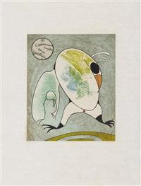 devant mon aile droite couve le morne militaire (aus: oiseaux en péril) 1975 by max ernst
