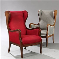 wingback easy chairs (pair) by frits henningsen
