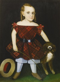 portrait of a young boy in plaid with dog by ammi phillips