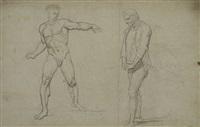 studio di nudo virile e altra figura di vecchio con le mani intrecciate (recto) / studio di figura panneggiata e di mani intrecciate (verso) by pietro benvenuti