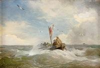 fischerboot auf bewegter see by andreas achenbach