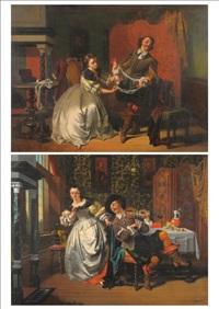 gentleman and lady winding wool in an interior; musical serenade, gentleman playing a violin beside a table (pair) by casimir van den daele