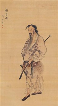 斸苓图 (cutting herbs) by zhou xun
