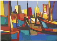 boutres au dubai. schiffe im hafen by marcel mouly