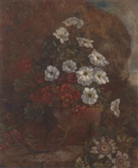 convulvulus and geraniums in a terracotta plant pot, aside passion flowers and other blooms in a summer garden by j. van aelst