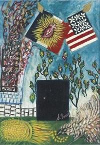 les drapeaux américains et français avec le sacré-coeur by séraphine de senlis